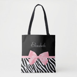 Chic Zebra Print Girly Light Pink Ribbon With Name Tote Bag