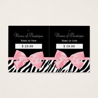 Chic Zebra Print Hang Tags Light True Pink Ribbon