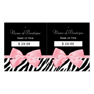 Chic Zebra Print Hang Tags Light True Pink Ribbon Pack Of Standard Business Cards