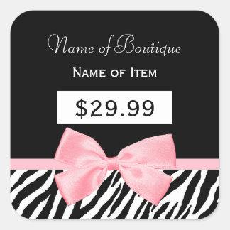Chic Zebra Print Light True Pink Ribbon Price Tag