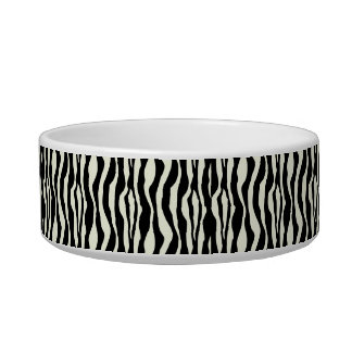 Chic Zebra Print Pearls Monogram Name Dish Cat Water Bowl