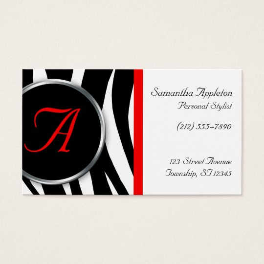 Chic Zebra Print Red Monogram Business Cards