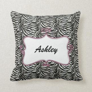 chic zebra stripes personalized throw pillow throw cushion