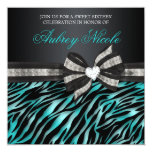 Chic Zebra Sweet Sixteen Invite With Jewelled Bow 13 Cm X 13 Cm Square Invitation Card