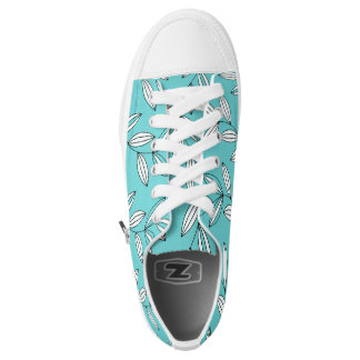 CHIC ZIPZ_GIRLY TURQUOISE/WHITE FLORAL VINES PRINTED SHOES