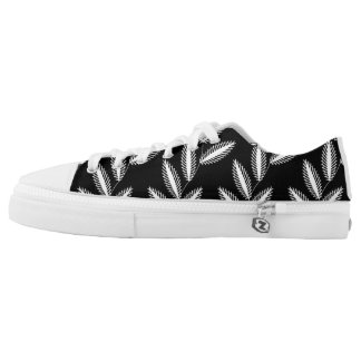 CHIC ZIPZ_GIRLY WHITE FLORAL VINES PRINTED SHOES