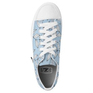 CHIC ZIPZ_MODERN GIRLY 21 BLUE/WHITE FLORAL VINES PRINTED SHOES