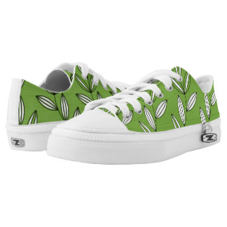 CHIC ZIPZ_MODERN GIRLY GREEN/WHITE FLORAL VINES PRINTED SHOES