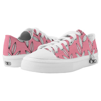 CHIC ZIPZ_MODERN GIRLY PINK/WHITE FLORAL VINES PRINTED SHOES