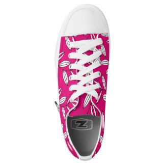 CHIC ZIPZ_MODERN GIRLY RASBERRY/WHITE FLORAL VINES PRINTED SHOES