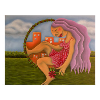 Chica en dos paisajes pintura óleo arte poster