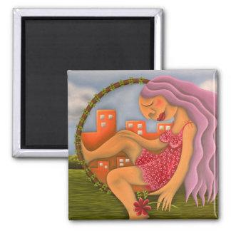 Chica en dos paisajes pintura óleo arte square magnet