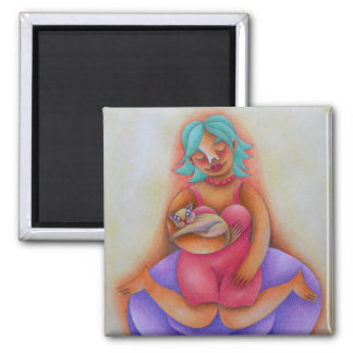 Chica y su gato acuarela y lápiz de color arte square magnet