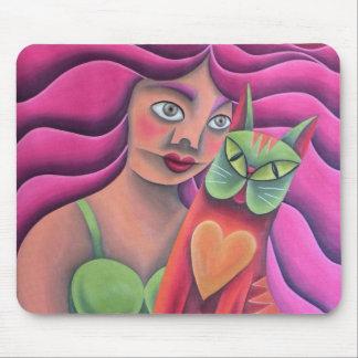 Chica y su gato verde pintura óleo arte mouse pad