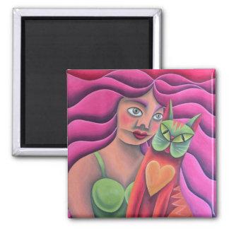 Chica y su gato verde pintura óleo arte square magnet