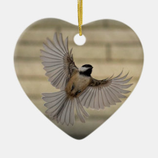 Chicadee in flight christmas ornament