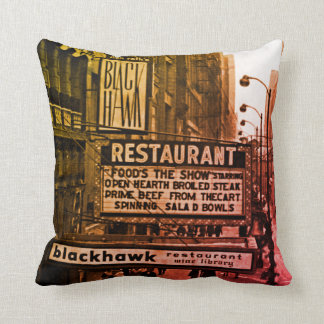 Chicago 1960's Blackhawk Restaurant Sign Street Cushion