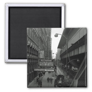 Chicago 1960's Blackhawk Restaurant Sign Street Square Magnet