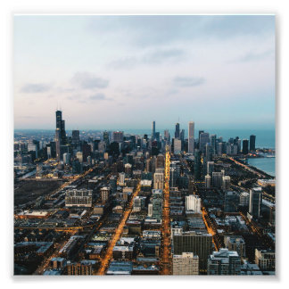 Chicago aerial view photo print