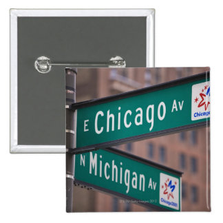Chicago and Michigan Avenue signposts, Chicago, 15 Cm Square Badge