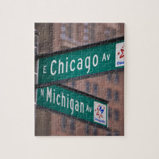 Chicago and Michigan Avenue signposts, Chicago, Jigsaw Puzzle