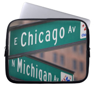 Chicago and Michigan Avenue signposts, Chicago, Laptop Sleeve