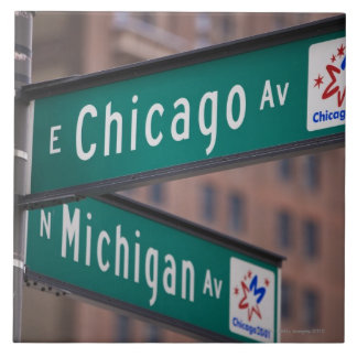 Chicago and Michigan Avenue signposts, Chicago, Large Square Tile
