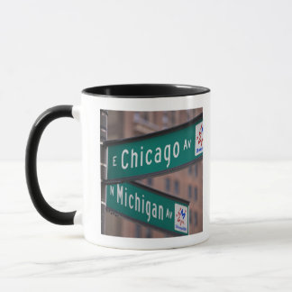 Chicago and Michigan Avenue signposts, Chicago, Mug