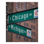 Chicago and Michigan Avenue signposts, Chicago, Poster
