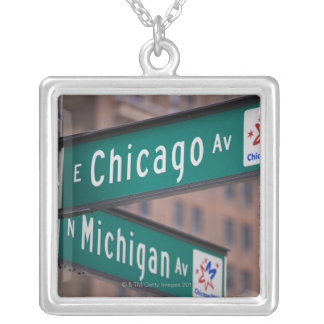 Chicago and Michigan Avenue signposts, Chicago, Silver Plated Necklace