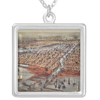 Chicago As it Was, c.1880 Silver Plated Necklace