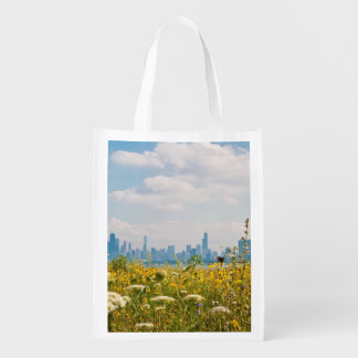 Chicago as seen from Montrose Harbor's bird Reusable Grocery Bag