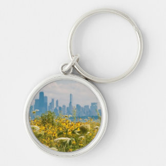 Chicago as seen from Montrose Harbor's bird Silver-Colored Round Key Ring