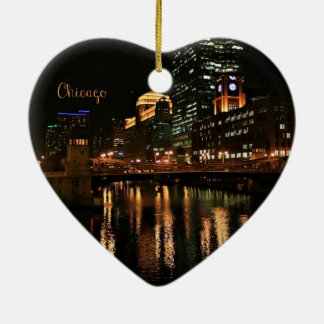 Chicago at Night cityscape Christmas Ornament