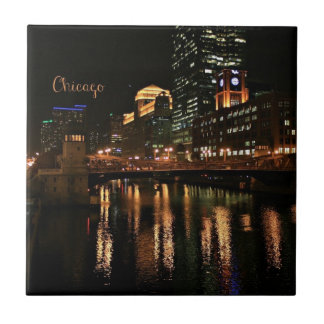 Chicago at Night cityscape Small Square Tile