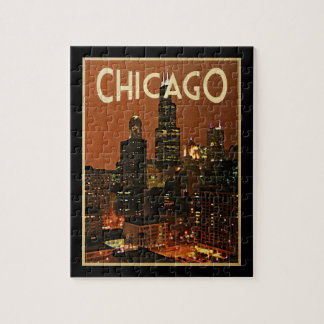 Chicago At Night Jigsaw Puzzle