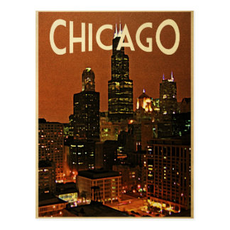 Chicago At Night Postcard