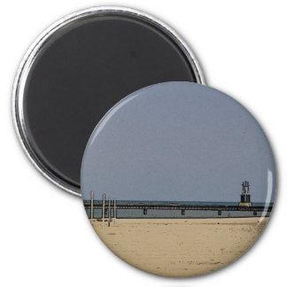 Chicago Beach Light 6 Cm Round Magnet