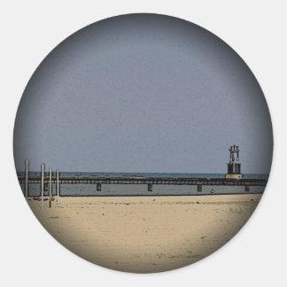 Chicago Beach Light Round Sticker