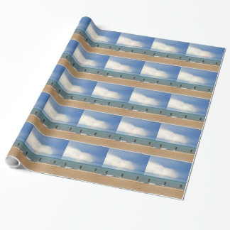 Chicago beach on a cloudy day wrapping paper