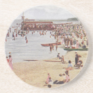 Chicago Beach Scene Vintage Postcard Coasters