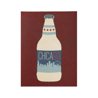 Chicago Beers Wood Poster