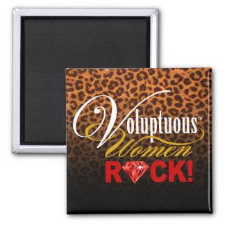 """CHICAGO BLING - Leopard """"Voluptuous Women Rock!"""" Square Magnet"""