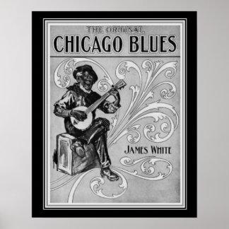 """Chicago Blues"" 1915 Sheet Music Print 16x20"
