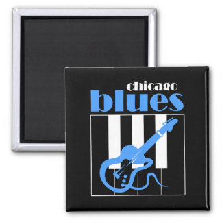 Chicago blues square magnet