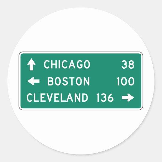 Chicago Boston Cleveland Highway Sign Classic Round Sticker