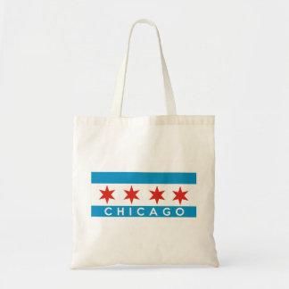 chicago city flag america text name budget tote bag