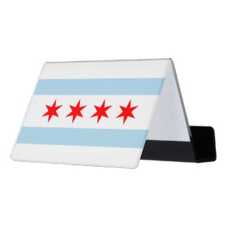 Chicago city flag desk business card holder