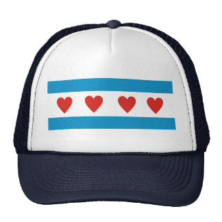 chicago city love flag hearts usa united states am cap