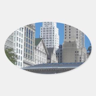 Chicago city scene oval sticker